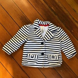 Other - Navy Blue and White Stripe Baby Girls Jacket 12 mo